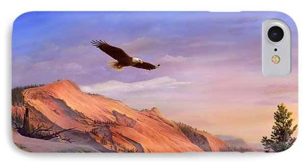 Flying American Bald Eagle Mountain Landscape Painting - American West - Western Decor - Bird Art IPhone Case by Walt Curlee