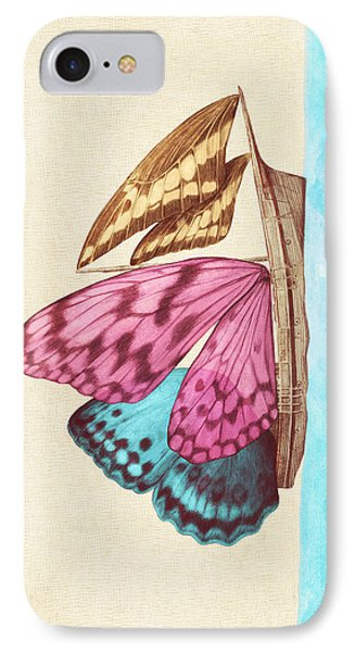Butterfly Ship IPhone Case by Eric Fan