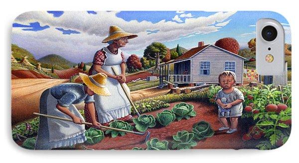 Family Vegetable Garden Farm Landscape - Gardening - Childhood Memories - Flashback - Homestead IPhone Case by Walt Curlee