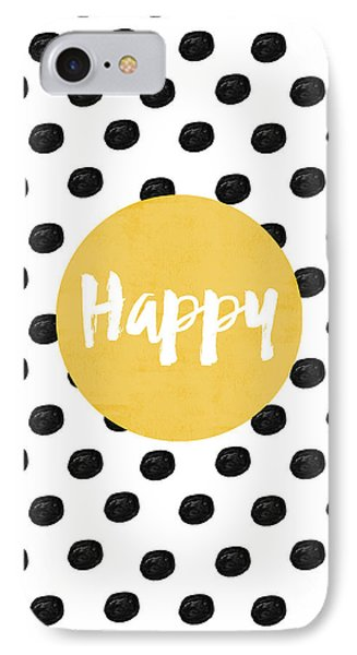 Happy Yellow And Dots IPhone Case by Allyson Johnson