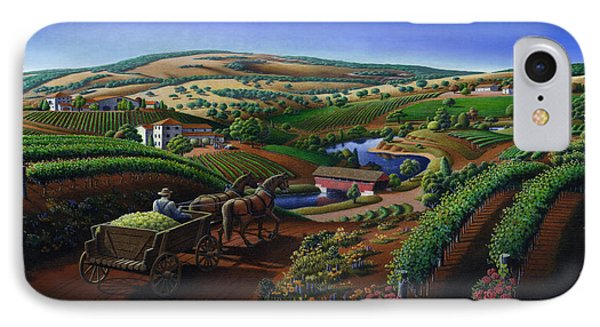 Old Wine Country Landscape Painting - Worker Delivering Grape To The Winery -square Format Image IPhone Case by Walt Curlee