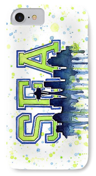 Seattle Watercolor 12th Man Art Painting Space Needle Go Seahawks IPhone 7 Case
