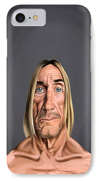 IPhone Case featuring the drawing Celebrity Sunday - Iggy Pop by Rob Snow
