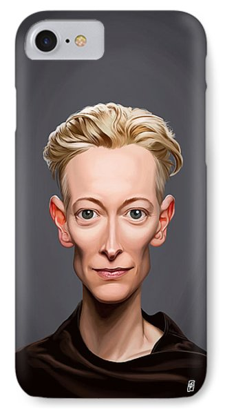 IPhone Case featuring the drawing Celebrity Sunday - Tilda Swinton by Rob Snow