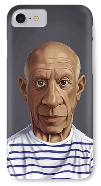 IPhone Case featuring the drawing Celebrity Sunday - Pablo Picasso by Rob Snow