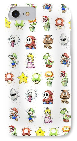 Mushroom iPhone 7 Case - Mario Characters In Watercolor by Olga Shvartsur