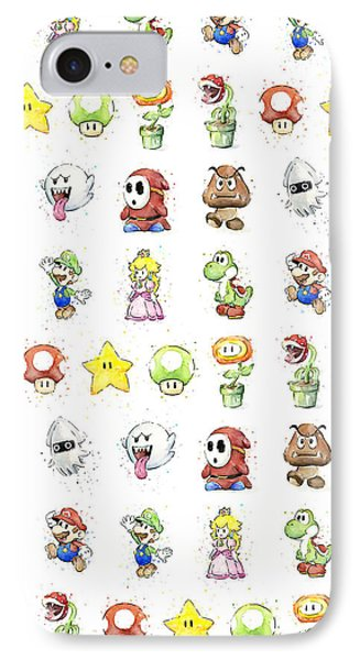 Mario Characters In Watercolor IPhone Case by Olga Shvartsur