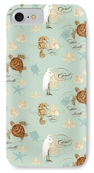 Coastal Waterways - Green Sea Turtle Rectangle 2 IPhone Case by Audrey Jeanne Roberts