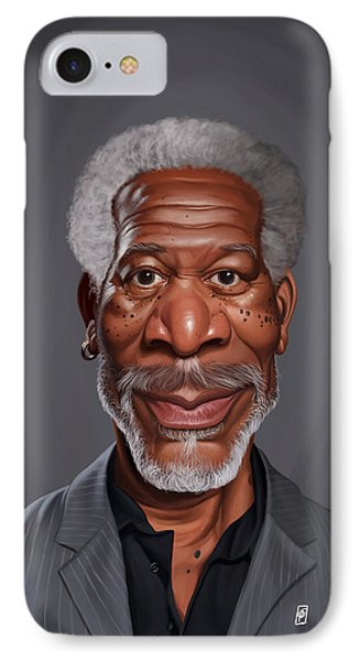 IPhone Case featuring the drawing Celebrity Sunday - Morgan Freeman by Rob Snow