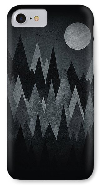Dark Mystery Abstract Geometric Triangle Peak Woods Black And White IPhone Case