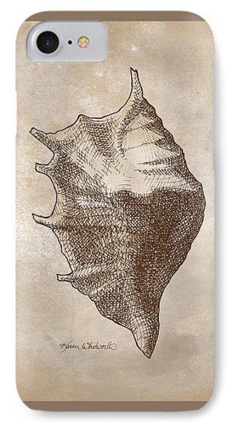 IPhone Case featuring the drawing Distressed Antique Nautical Seashell 1  by Karen Whitworth