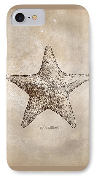 IPhone Case featuring the drawing Distressed Antique Nautical Starfish by Karen Whitworth