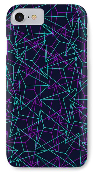 Abstract Geometric 3d Triangle Pattern In Turquoise Purple IPhone Case by Philipp Rietz