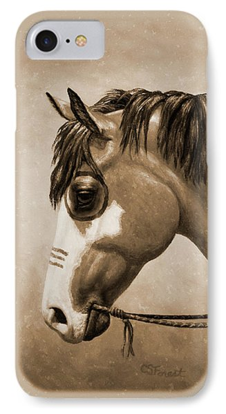 Buckskin War Horse In Sepia IPhone Case by Crista Forest
