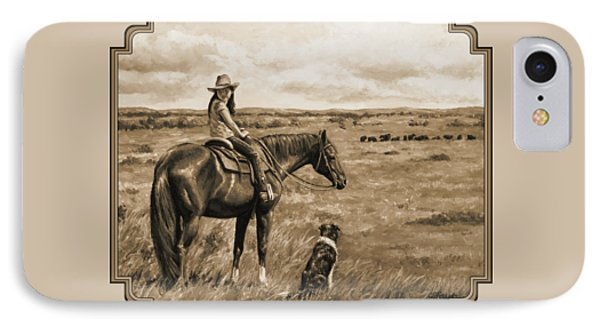 Little Cowgirl On Cattle Horse In Sepia IPhone Case by Crista Forest