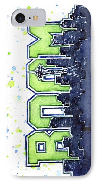 Seattle iPhone 7 Case - Seattle 12th Man Legion Of Boom Painting by Olga Shvartsur