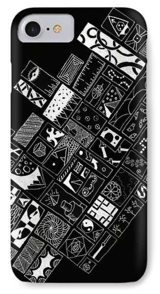 White On Black Abstract Art IPhone Case by Edward Fielding