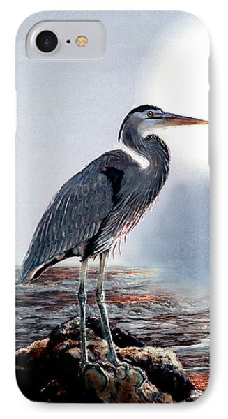 Blue Heron In The Circle Of Light IPhone Case by Regina Femrite