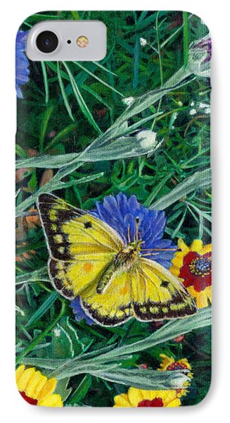 Butterfly Wildflowers Spring Time Garden Floral Oil Painting Green Yellow Phone Case by Walt Curlee