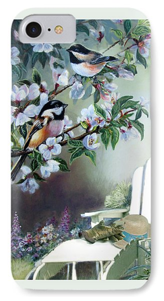 Chickadees In Blossom Tree IPhone Case by Regina Femrite