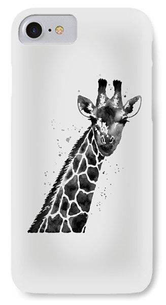 Giraffe In Black And White IPhone Case by Hailey E Herrera