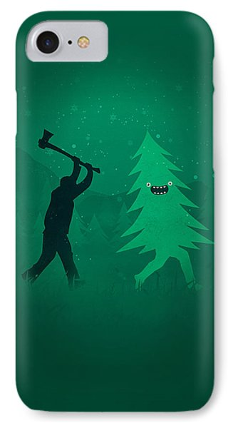 Funny Cartoon Christmas Tree Is Chased By Lumberjack Run Forrest Run Phone Case by Philipp Rietz