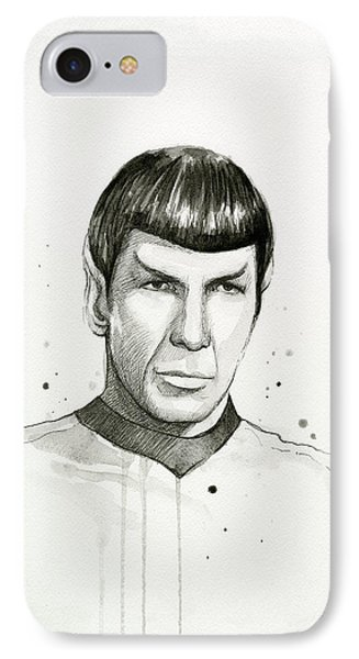 Spock Watercolor Portrait IPhone Case by Olga Shvartsur