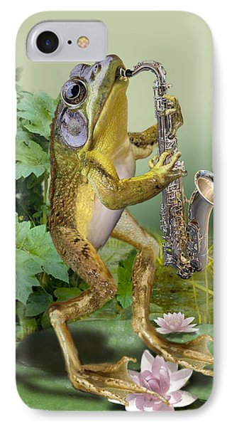 Humorous Frog Plying Saxophone IPhone Case by Regina Femrite
