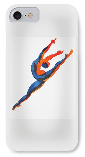 IPhone Case featuring the painting Ballet Dancer 2 Leaping by Shungaboy X