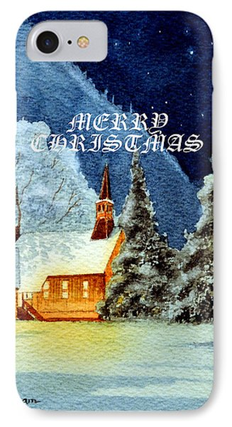 Merry Christmas Card Yosemite Valley Chapel IPhone Case