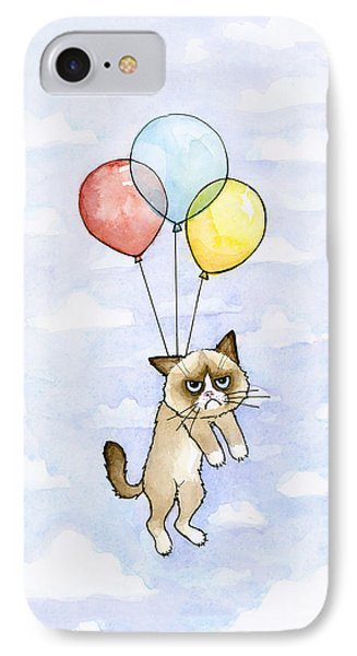 Grumpy Cat And Balloons IPhone Case by Olga Shvartsur