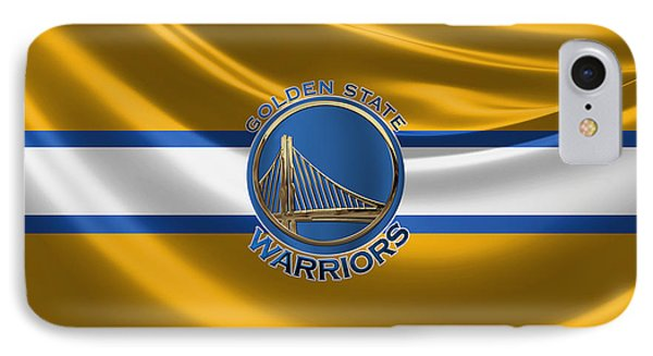 Golden State Warriors - 3 D Badge Over Flag IPhone Case by Serge Averbukh