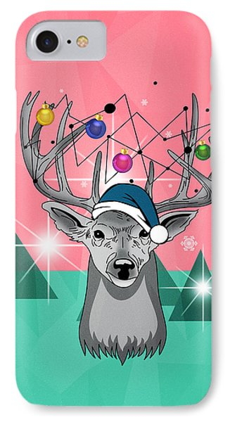 Christmas Deer IPhone Case by Mark Ashkenazi