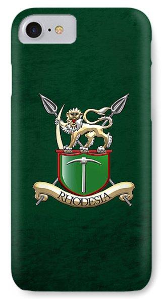 Rhodesian Army Emblem Over Green Velvet IPhone Case by Serge Averbukh