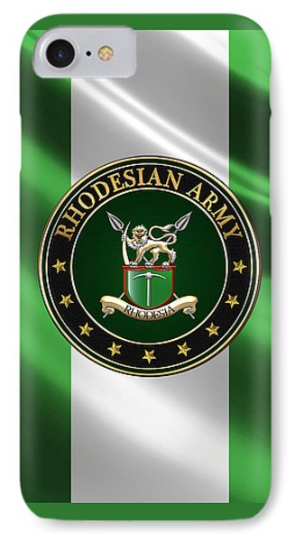 Rhodesian Army Emblem Over Flag IPhone Case by Serge Averbukh