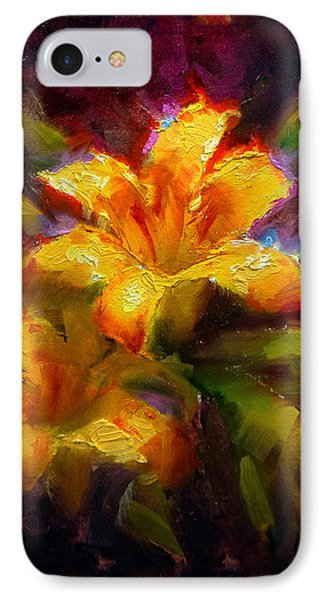 IPhone Case featuring the painting Daylily Sunshine - Colorful Tiger Lily/orange Day-lily Floral Still Life  by Karen Whitworth