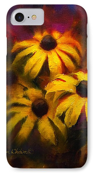 IPhone Case featuring the painting Black Eyed Susans - Vibrant Flowers by Karen Whitworth