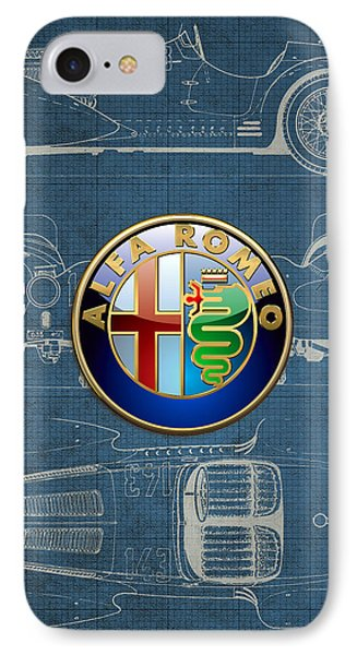 Alfa Romeo 3 D Badge Over 1938 Alfa Romeo 8 C 2900 B Vintage Blueprint IPhone Case by Serge Averbukh