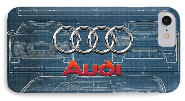Audi 3 D Badge Over 2016 Audi R 8 Blueprint Phone Case by Serge Averbukh