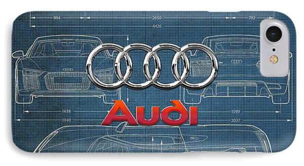 Audi 3 D Badge Over 2016 Audi R 8 Blueprint IPhone Case by Serge Averbukh