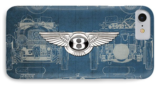 Bentley - 3 D Badge Over 1930 Bentley 4.5 Liter Blower Vintage Blueprint IPhone Case by Serge Averbukh