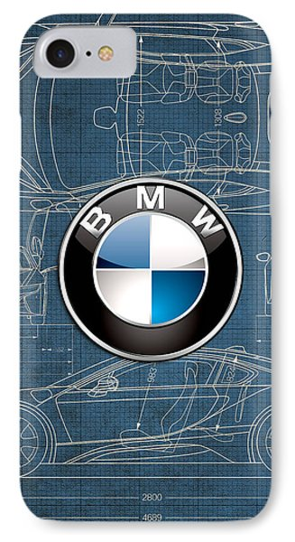B M W 3 D Badge Over B M W I8 Blueprint  IPhone Case by Serge Averbukh