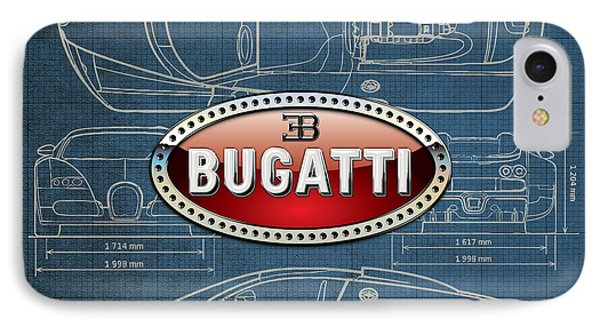 Bugatti 3 D Badge Over Bugatti Veyron Grand Sport Blueprint  Phone Case by Serge Averbukh