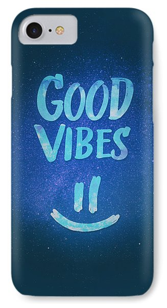 Good Vibes  Funny Smiley Statement Happy Face Blue Stars Edit IPhone Case by Philipp Rietz