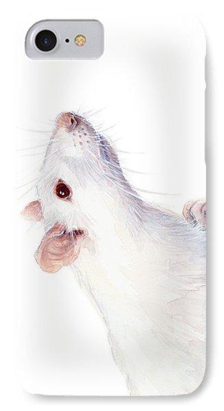 White Albino Rat Watercolor IPhone Case