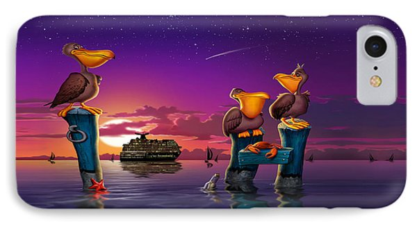 Pelican Sunset Whimsical Cartoon Tropical Birds Florida Seascape - Square Format IPhone Case by Walt Curlee