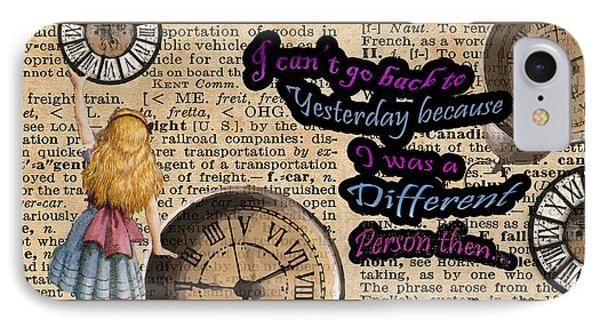 Alice In Wonderland Travelling In Time IPhone Case by Jacob Kuch