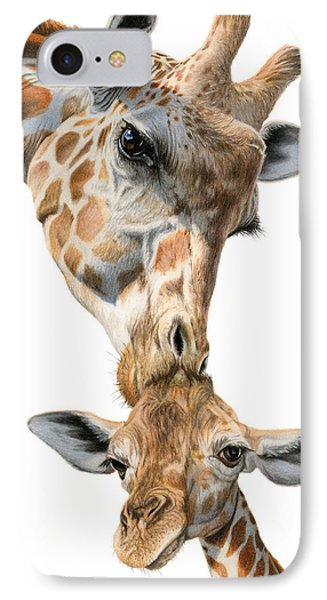 Mother And Baby Giraffe IPhone 7 Case by Sarah Batalka
