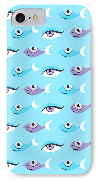 Pattern Of Blue Eyes And Fish In Sea IPhone Case