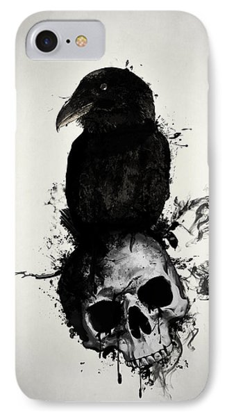 Raven And Skull IPhone 7 Case by Nicklas Gustafsson